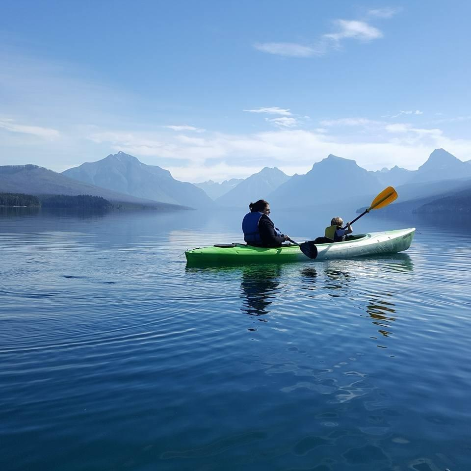 Dr. Hayes kayaking on Lake McDonald